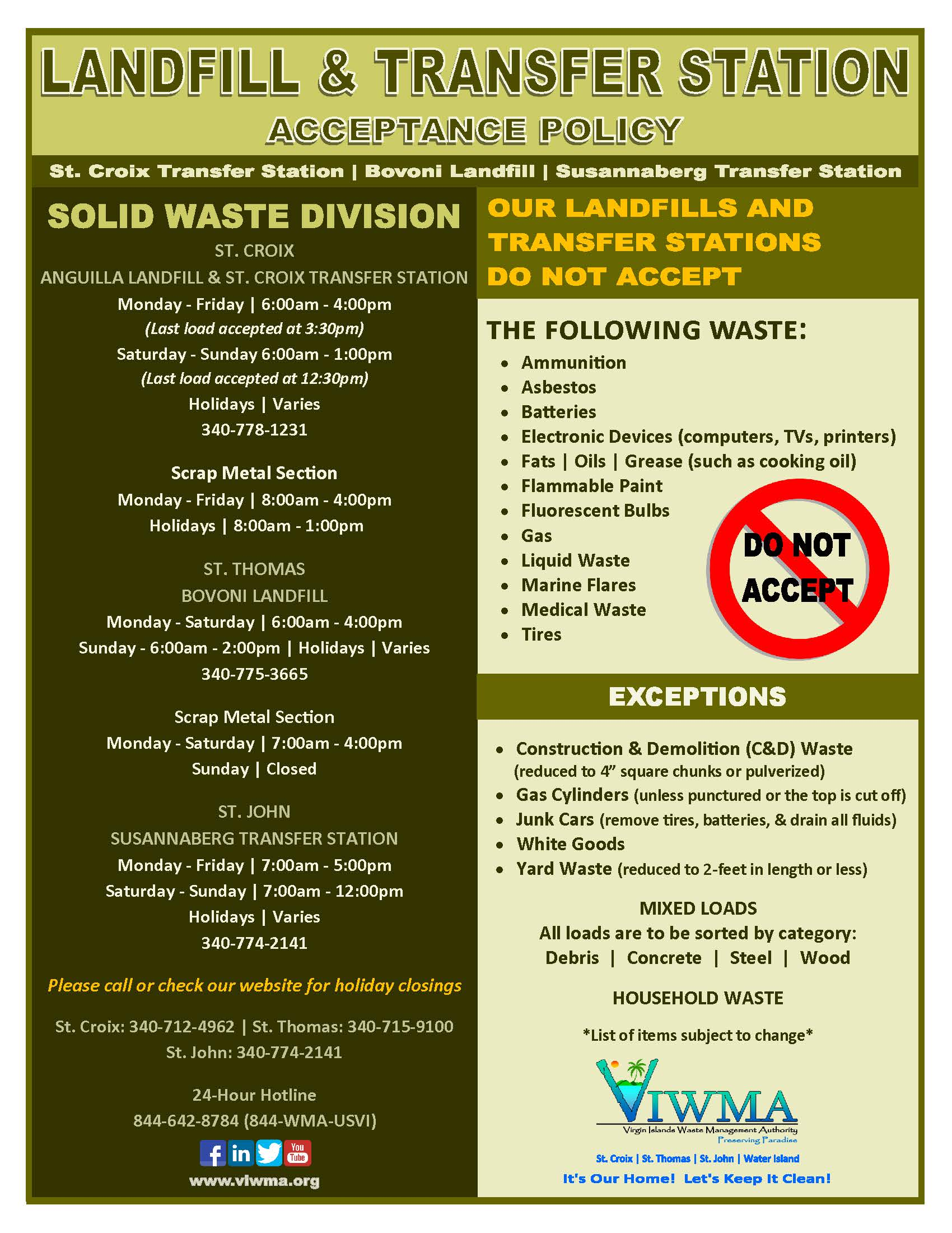 Landfill Transfer Station Bin Site Acceptance Policy Flyer Page 1